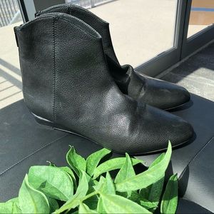 Stuart Weitzman black leather low wedge booties